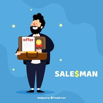 Счастливый персонаж продавца с плоским дизайном