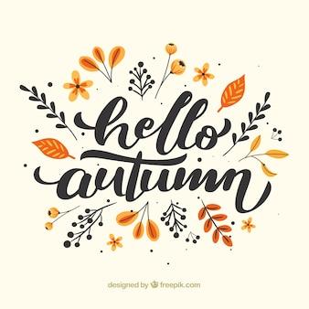 平らなデザインのこんにちは秋の組成