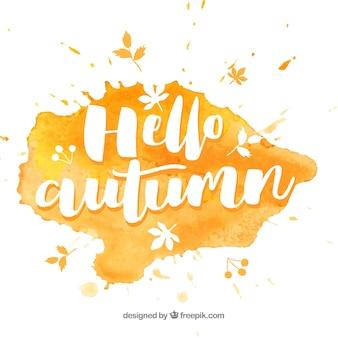 水彩のこんにちは秋の組成