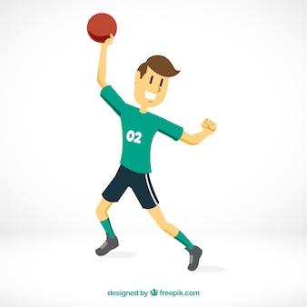 Спортивный гандболист с плоским дизайном