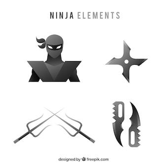 フラットデザインの伝統的な忍者要素コレクション
