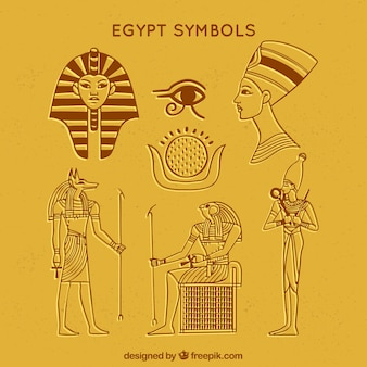 手描きのエジプトシンボルと神のコレクション