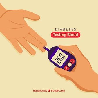 Диабетики, тестирующие кровь с плоской конструкцией