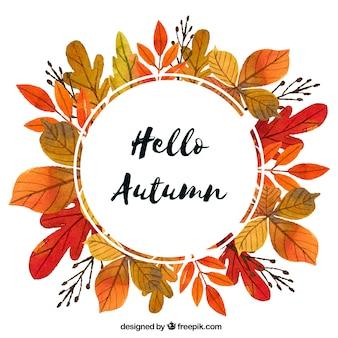 素敵な水彩の秋の組成