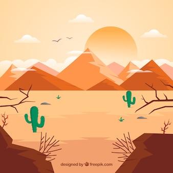 フラットデザインの砂漠の生態系構成