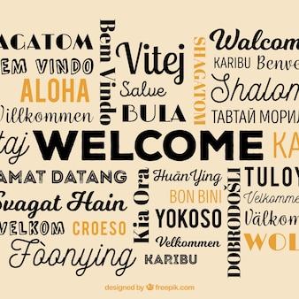 異なる言語での歓迎のコンポジションバックグラウンド