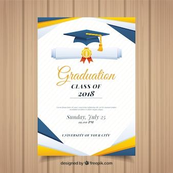 フラットデザインのカラフルな卒業招待状テンプレート
