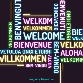 さまざまな言語のネオンスタイルで歓迎のコンポジションバックグラウンド