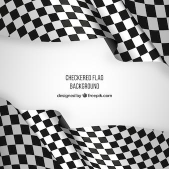 Фон с клетчатым флагом с реалистичным дизайном