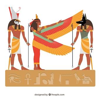 フラットデザインのエジプトの神々とシンボルコレクション