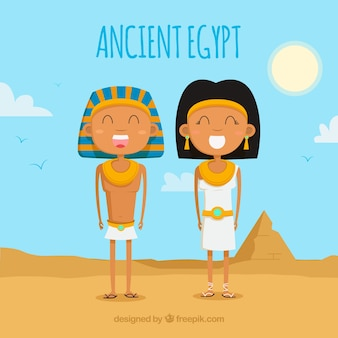 フラットデザインの古代エジプト・コンポジション
