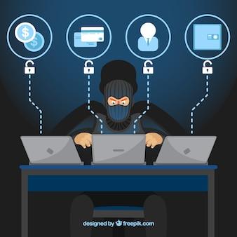 Анонимный хакер с плоским дизайном