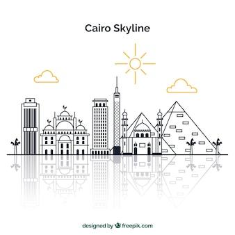 カイロ、エジプトの手描きのスカイライン