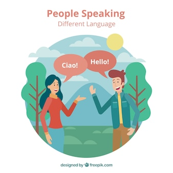 フラットなデザインでさまざまな言語を話す幸せな人