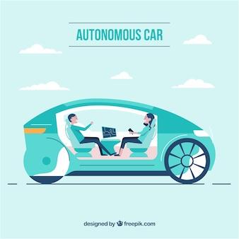 Футуристический дизайн интерьера автономного автомобиля