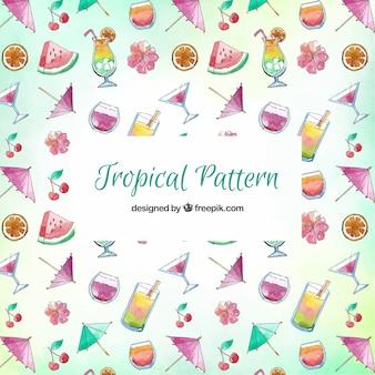 飲み物とフルーツのトロピカルなパターン