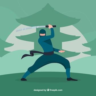 フラットデザインの伝統的な忍者の戦士の背景