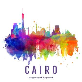 カイロ、エジプトの水彩画のスカイライン