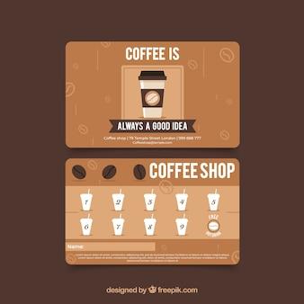 Шаблон карточки лояльности для кафе с современным стилем
