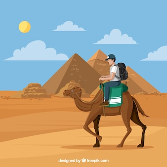 キャラバンとピラミッドの風景