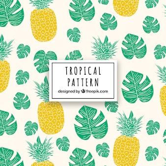 パイナップルと葉のトロピカル・パターン