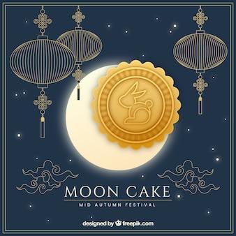 Середина осеннего фона с лунным пирогом