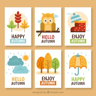 素敵な手描きの秋のカードコレクション