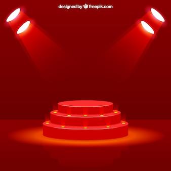 現実的なステージの表彰台とエレガントな雷