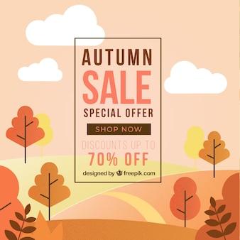 Осенняя распродажа фон с ландшафтом