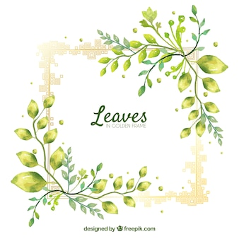 葉のフレームと素敵な水彩の背景