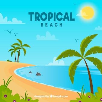 フラットデザインの素敵なトロピカルビーチ