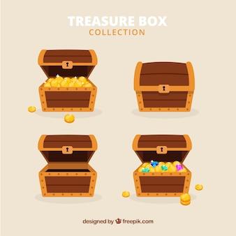 平らなデザインの古代の宝箱コレクション