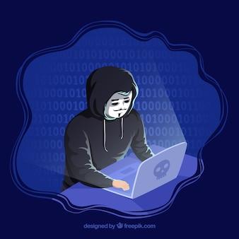 Анонимная концепция хакера с плоским дизайном