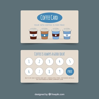 Шаблон карточки лояльности кафе с элегантным стилем