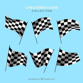 Коллекция гоночных клетчатых флагов с реалистичным дизайном