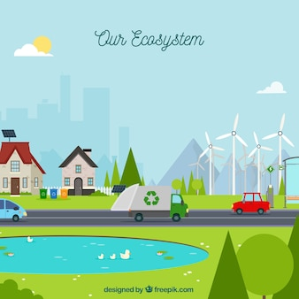 廃棄物トラックの生態系コンセプト