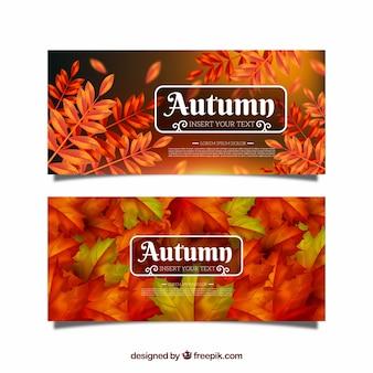現実的なスタイルの秋のバナーのセット