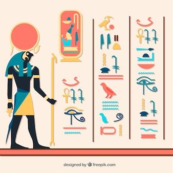 フラットデザインのエジプトの象形文字の背景