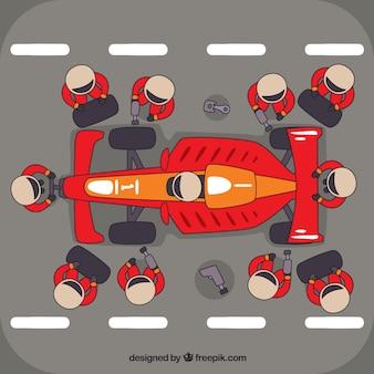 レーシングカーピットストップワーカー