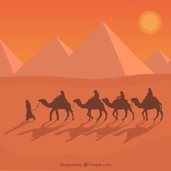 フラットエジプトピラミッドの風景、ラクダのキャラバン