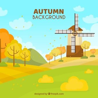 公園と秋の背景