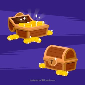Деревянный сундук с сокровищами с плоским дизайном