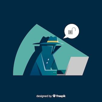 フラットデザインの匿名ハッカー