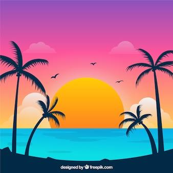 Райский тропический пляж с прекрасным закатом