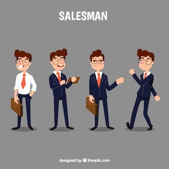 Мультяшный продавец в четырех разных позициях