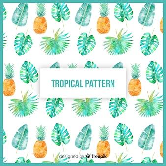 Красочный акварельный тропический узор