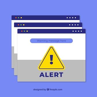 フラットデザインのカラフルな警告ポップアップ