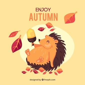かわいいハリネズミと秋の背景