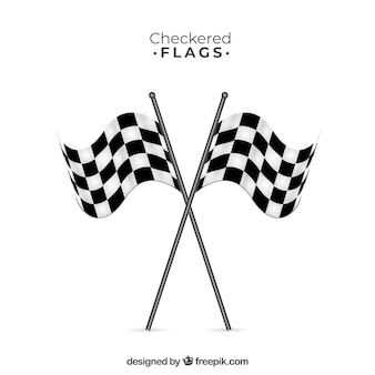 平らなデザインのレースチェッカーフラッグ
