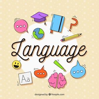 Состав языка с плоским дизайном